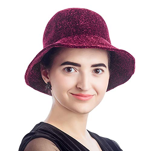(Winter Hats for Women, Foldable Knit Bucket Hat, Fashion Warm Windproof (L18F5011, Wine Red))