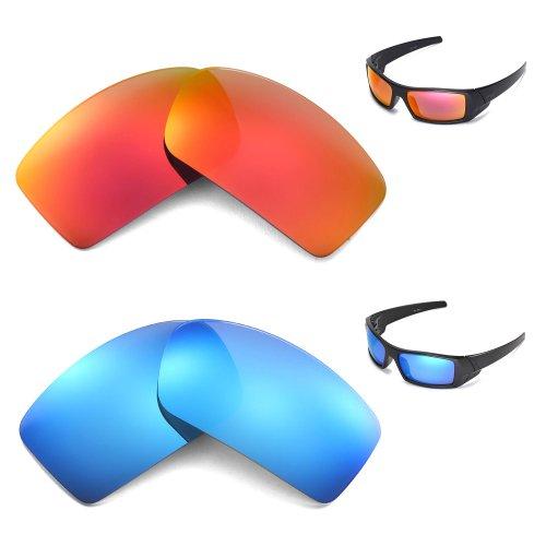 New Walleva Polarized Ice Blue + Fire Red Lenses For Oakley - Lenses Transition Gascan Oakley