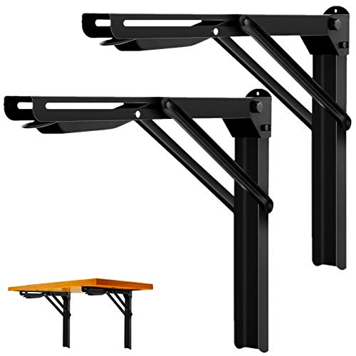 "Walmann 24"" Folding Shelf Brackets, Collapsible Brackets for Shelves Wall Mounted Hinges Space Saving DIY Bracket for Table Bench, Max Load 500 LBS"