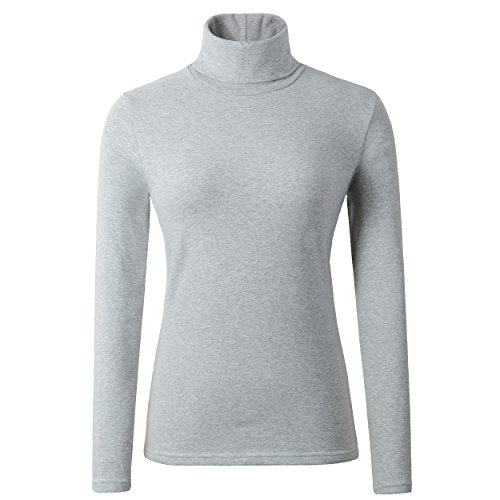 HieasyFit Women's Cotton Turtleneck Underscrub Knit Pullover Top LightGray L