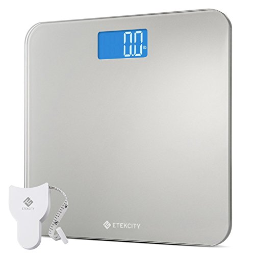 Etekcity Digital Body Weight Bathroom Scale With Body Tape Measure & Round Corner Design, Large Blue Lcd Backlight Display, High Precision Measurements, 400 Pounds