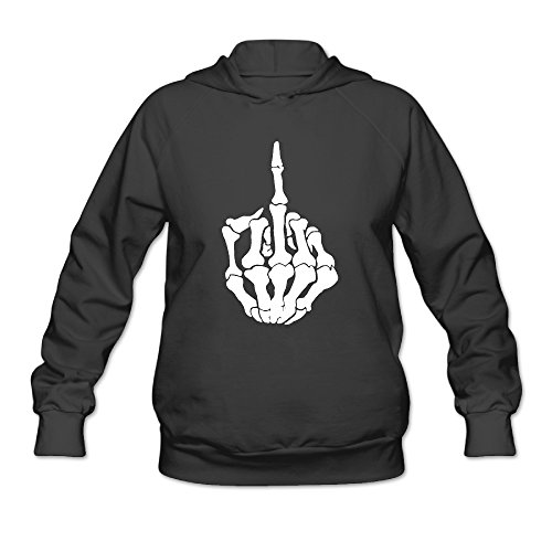 Bro-Custom Skull Middle Finger Hooded For Women's Size XL Black