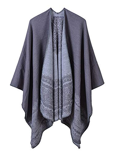 Obosoyo Women Poncho Shawl Cardigan Open Front Elegant Cape Wrap Sweater Coat Grey