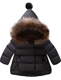 5b0af7b97bc4e Baby Boys Girls Hooded Snowsuit Winter Warm Fur Collar Hooded Down  Windproof Jacket Outerwear