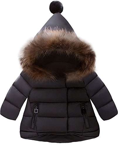 Hooded Girls Jacket Puffer (Jojobaby Baby Boys Girls Hooded Snowsuit Winter Warm Fur Collar Hooded Down Windproof Jacket Outerwear (18-24 Months, Black))
