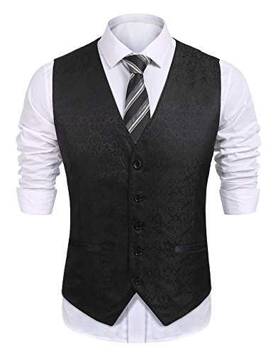 COOFANDY Mens Dress Tuxedo Vest Paisley Embroidery Wedding Formal Waistcoat Halloween Costume, Black, Large ()