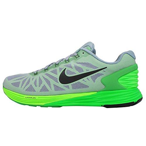 Nike Men's LunarGlide VI Running Shoes, Dove Grey/Black-Poison Green-Flash Lime, 10.5