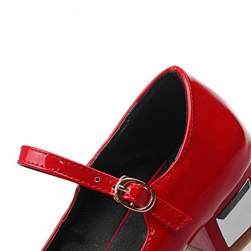 Amoonyfashion Kvinners Lave Hæler Solid Spenne Japanned Lær Påpekt Lukket Tå Pumper-sko Røde
