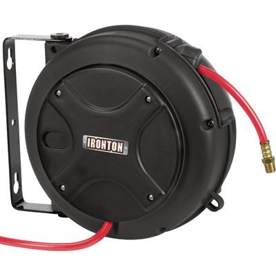 Ironton Mini Air Hose Reel - With 1/4in. x 26ft. Hybrid Polymer Hose, Max. 180 PSI
