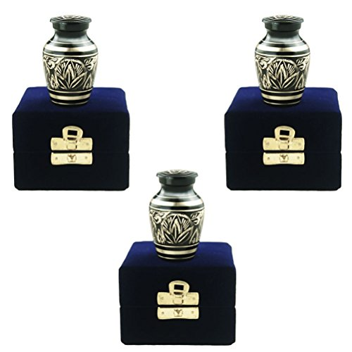 Majestic Urn - Keepsake Urns Set of 3 - Funeral Cremation Urn for Human Ashes Adult - Brass Hand Engraved- Fits a Small Amount of Cremated Remains- Display Burial Urn at Home or Office (Majestic Radiance, Baby Urn