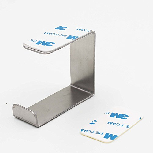 Stainless Steel Headphone Headset Stand, Under Desk Headset Headphone Hanger Holder Hook Stick On Headphone Hook - No Headphone (A)