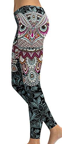 Clothdigger Hot Tribal Owl Printed Yoga Leggings Stretchy