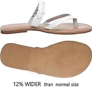 Aukusor Women's Wide Width Flat Sandals Flip Flop Open Toe