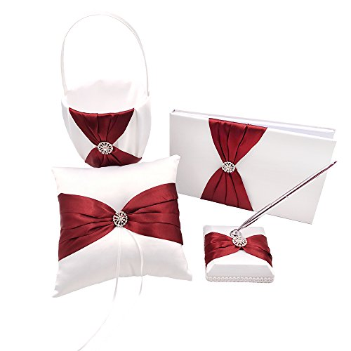 (Abbie Home 4 in All Wedding Guest Book + Pen Set + Flower Basket + Ring Pillow Rhinestone Party Favor (Burgundy))