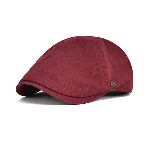 Ivy Hat Newsboy (VOBOOM Cotton Flat Cap Cabbie Hat Gatsby Ivy Cap Irish Hunting Hat Newsboy (Burgundy))