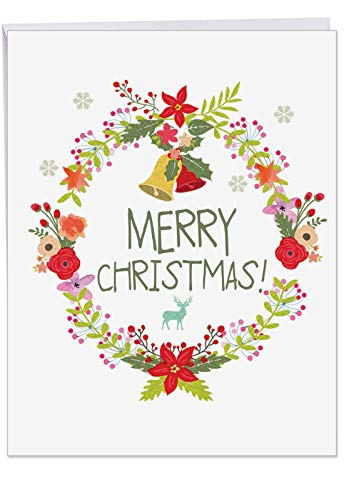 Oversized 'Watercolor Wreaths' Merry Xmas Greeting Card with Envelope 8.5 x 11 Inch - Bright and Cheery Holiday Floral Wreath with Bells and Holly - Big Size Christmas Letterhead - J6653JXSG