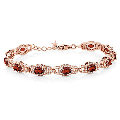 - Gem Stone King 9.65 Ct Oval Red Garnet 18K Rose Gold Plated Silver 7 Inch Bracelet With 1 Inch Extender