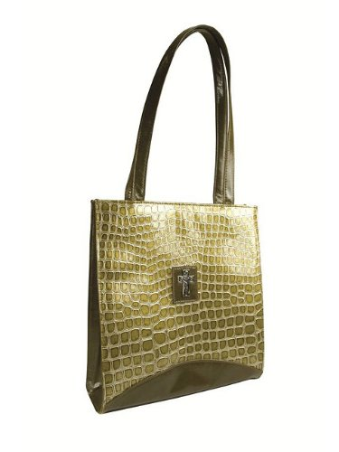 Croc Embossed Green Tote with Cross -
