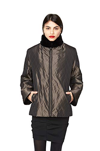 "435 Gray Diamond Quilted Black Sheared Grooved Nutria Sections Reversible 26"" Slightly Shaped Raincoat - Coat Fur Nutria"