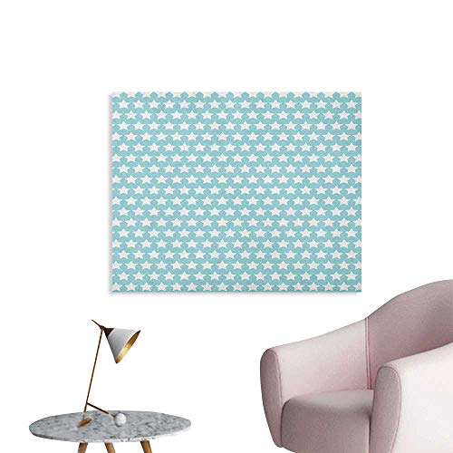 - Anzhutwelve Vintage Wall Paper Geometrical Squares Crosswise Stripes Traditional Tartan Like Lattice Pattern Space Poster Pale Blue White W36 xL32