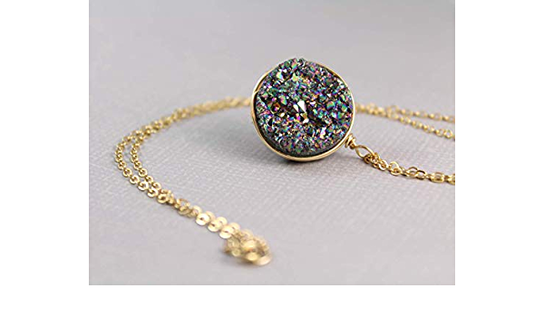 Druzy Quartz Necklace Gold Plated Chain Natural Stone Rainbow Crystal Pendant