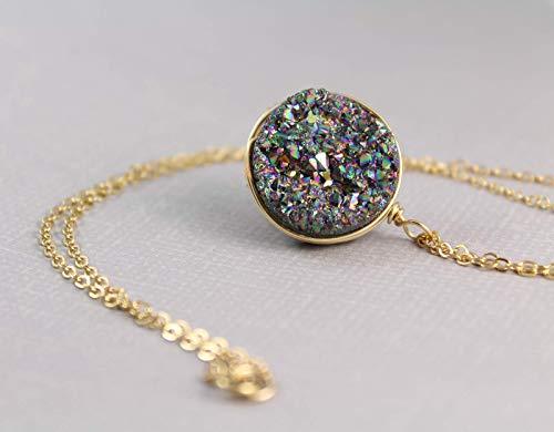 - Large Rainbow Druzy Quartz Round Pendant Necklace Gold Filled For Women - 18