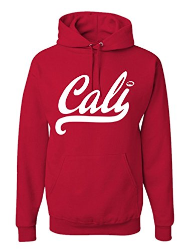 Men's Cali Life West Side Hoodie California Republic USA Surf Hooded Sweatshirt (L, Red)