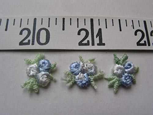 Designer Fabric - Appliques tri Flower Rose Bud Light Blue White 5/8 36 pcs - Clothing & Fashion Apparel Trimmings ()