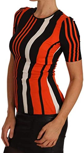 Dolce & Gabbana Women's Multicolor Striped Silk Top Short Sleeved Blouse T-Shirt Size IT38 | XS