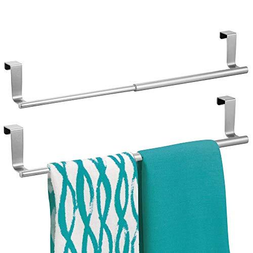 Adjustable Bar Hanger - mDesign Adjustable, Expandable Kitchen Over Cabinet Towel Bar Rack - Hang on Inside or Outside of Doors, Storage for Hand, Dish, Tea Towels - 9.25