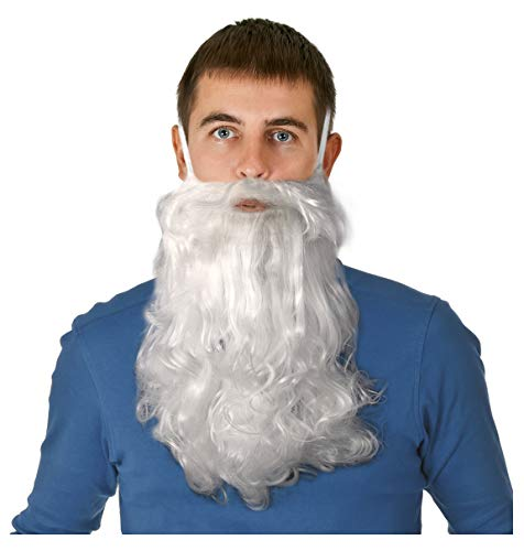 Long White Beard Dwarf Beard Gnome Beard Costume Wizard Beard for Adults or Kids]()