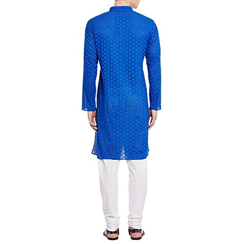 Mens Embroidered Cutwork Cotton Kurta With Churidar Pajama Trousers Machine Embroidery,Blue Chest Size: 46 Inch by ShalinIndia (Image #1)