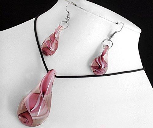 Ecloud Shop Purple drops-shaped Lampwork Glass Murano Pendant Necklace Earrings