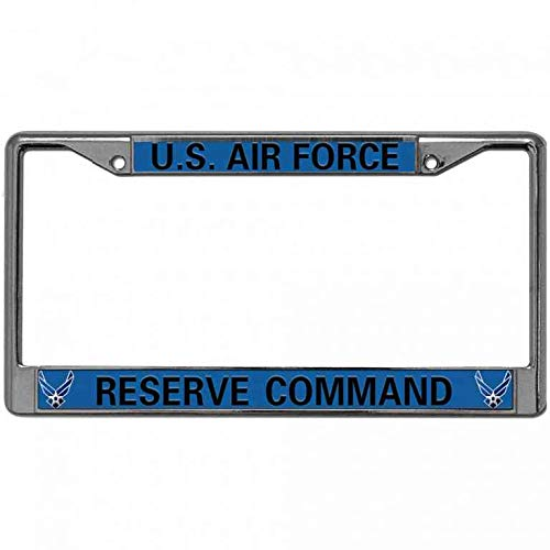 - Hanmen Tye Chrome Plate Frame License Plate Cover Anti-Theft Screw Cap,Air Force Pride Anti-UV Vehicle License Plate Frame,US Airforce Reserve Command License Plate Aluminum Cover