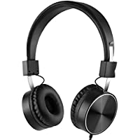 Wired Active Noise Cancelling Headphones with Inline Microphone, Foldable Travel Headphones with Airplane Adapter, On-Ear - Black