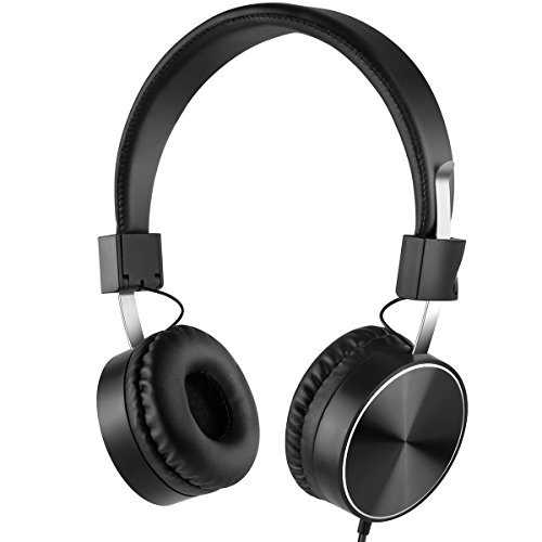 Eleckey E5 Wired Active Noise Cancelling Headphones with Inline Microphone, Foldable Travel Headphones with Airplane Adapter, On-Ear - Black