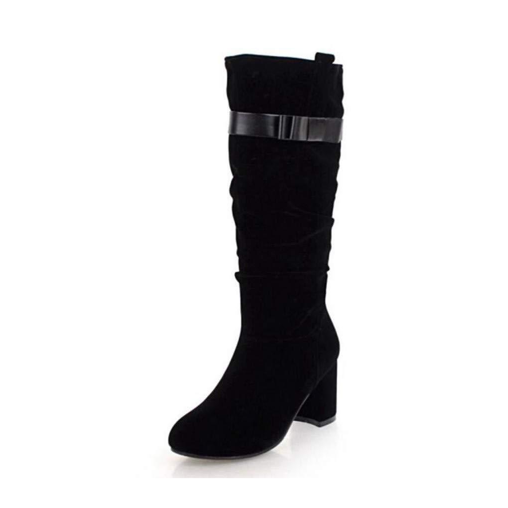 HAOLIEQUAN Büro Dame High Heels Bowknot Stiefel Bowknot Heels Reißverschluss Winter Schuhe Frauen Warme Stiefel Party Schuhe Größe 31-43 d988b2