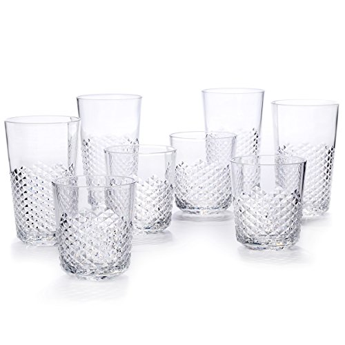 Cupture Diamond Plastic Tumblers BPA Free, 24 oz / 14 oz, 8-Pack (Clear) by Cupture (Image #9)