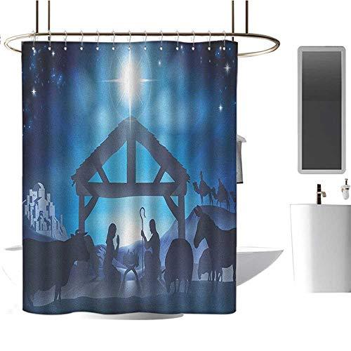 (Decorative Shower curtain36 x72 Blue,Birth Scene in Bethlehem with Christmas Star Barn Animals Magical Night Grey Dark Blue Sky Blue,Curtain Anti Mould for Bathroom & Toilet)