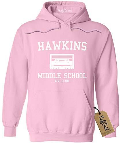 Hawkins Middle School AV Club Hoodie / Hooded Sweatshirt - Stranger Things Inspired Sweater - Unisex Fit (XL, Light Pink)