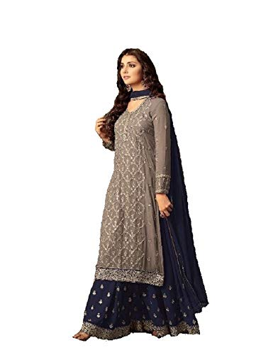 ziya Indian/Pakistani Ethnic wear Georgette Plaazo Salwar Kameez (Blue, 2X-52)