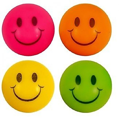 100 Smiley Flummi - Bälle 100 Smiley Neon Jet Balls