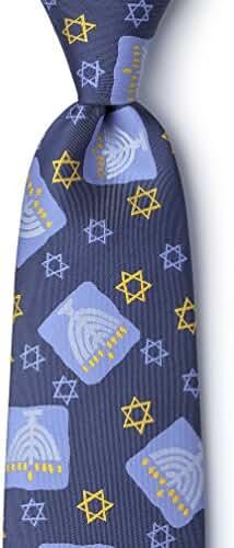 Menorah Navy Blue Microfiber Tie