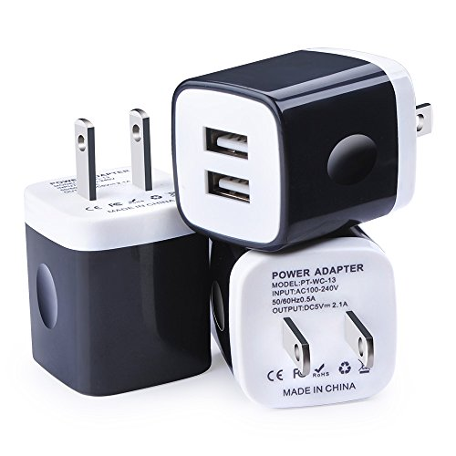 Wall Charger, Kakaly 3-Pack 2.1Amp USB Wall Adapter Dual Port Quick Charger Cube for any iOS or Android Devices: iPhone, iPad Samsung and More.Charger Base,Charger Brick ,Charger Blocks, USB Brick by Kakaly