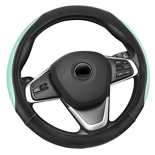Elantrip Car Steering Wheel Cover Leather 14 1/2 inch to 15 inch, Reversible Design Universal Anti Slip for Auto Truck SUV Mint
