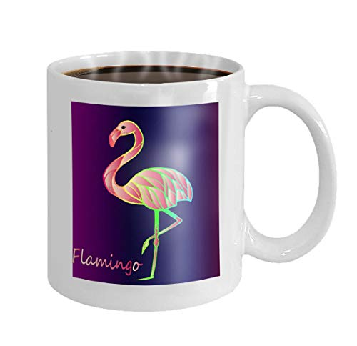 11 oz Coffee Mug bright pink flamingo purple gradient background exotic rare bird beautiful close up sketch exotic bird flamingo Novelty Ceramic Gifts Tea Cup
