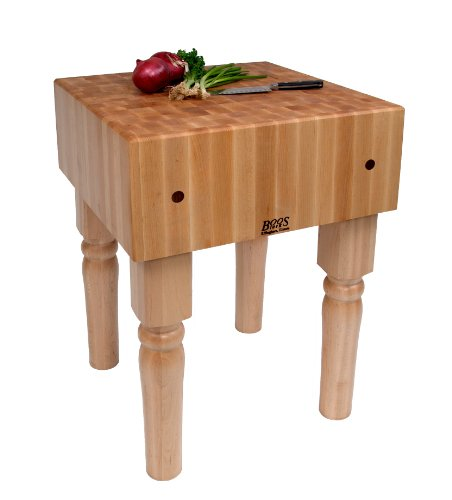 John Boos AB01 Maple End Grain Butcher Block Table, 34 inches tall, 18'' x 18'' x 10 Inch Butcher Block Top by John Boos