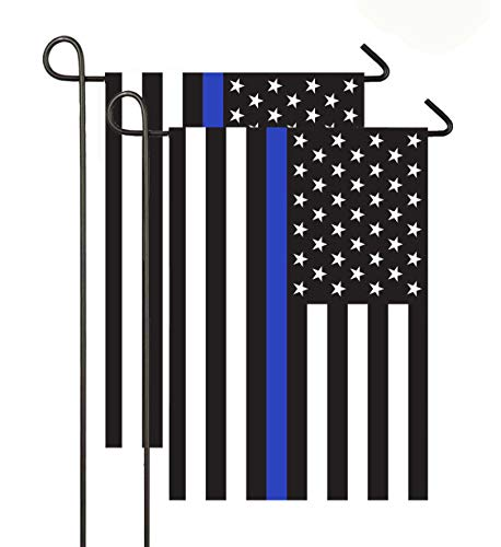 - 2 Pack Thin Blue Line American 12x18-Inch Garden Flag Made of Durable Polyester