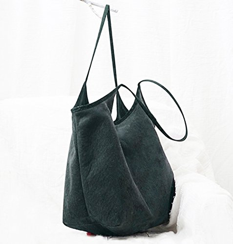 Tote Ultra light Womens Suede Handbags Black Bags Shoulder Soft Purse Hobo R4fnxPSf