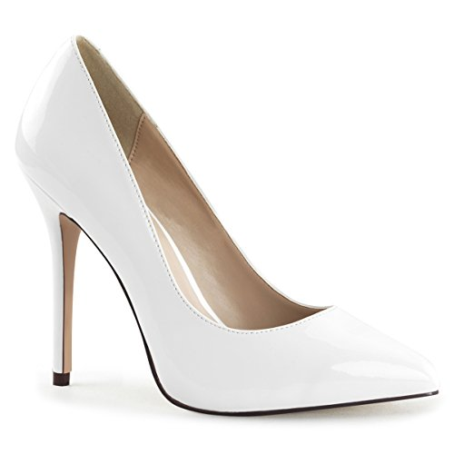Womens White Pumps Shoes Pointed Toe Pumps Classic Stilettos 5 Inch Heels Size: 11 (5 Inch Heel Classic Pump)